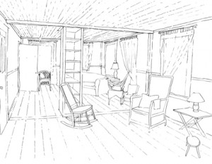 Conceptual Sketch, Living Room: Combined Parlor-Library